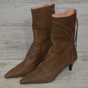 DKNY Brown Leather Kitten Heel Bootie 5.5